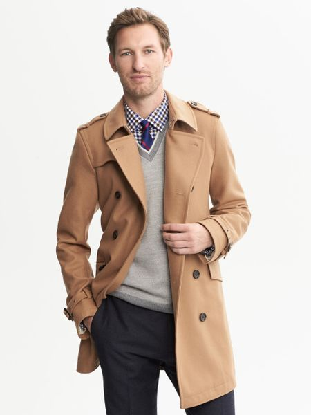 Banana Republic Camel Wool Belted Trench Camel in Beige ...