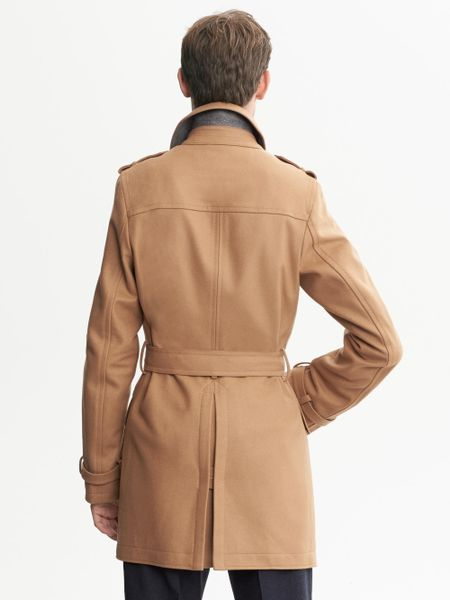 Banana Republic Camel Wool Belted Trench Camel In Beige