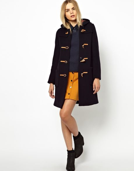 Gloverall Slim Duffle Coat In Wool With Check Lining in ...