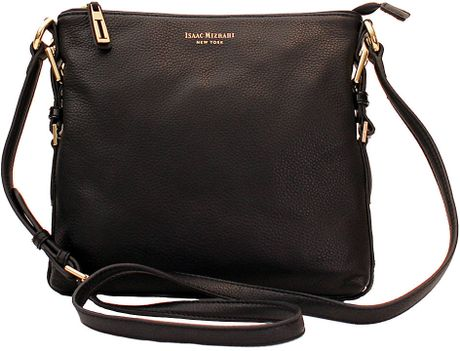 Isaac Mizrahi New York Evalyn Leather Crossbody Bag in Black