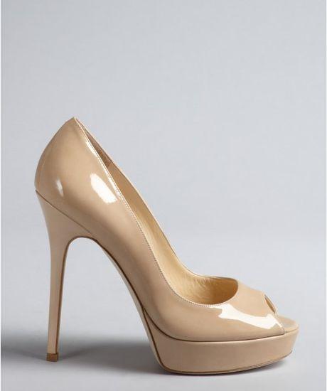 Nine West Nude Patent Peep Toe Shoes