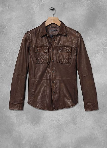 John Varvatos Leather Cargo Shirt Jacket in Brown for Men (Chestnut