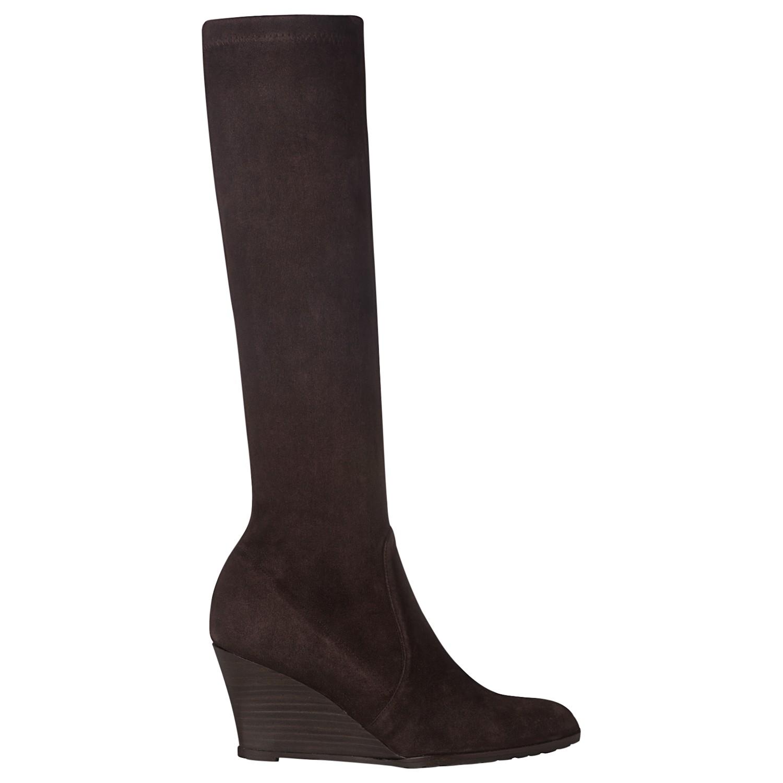 l k regan suede wedge calf boots in brown lyst