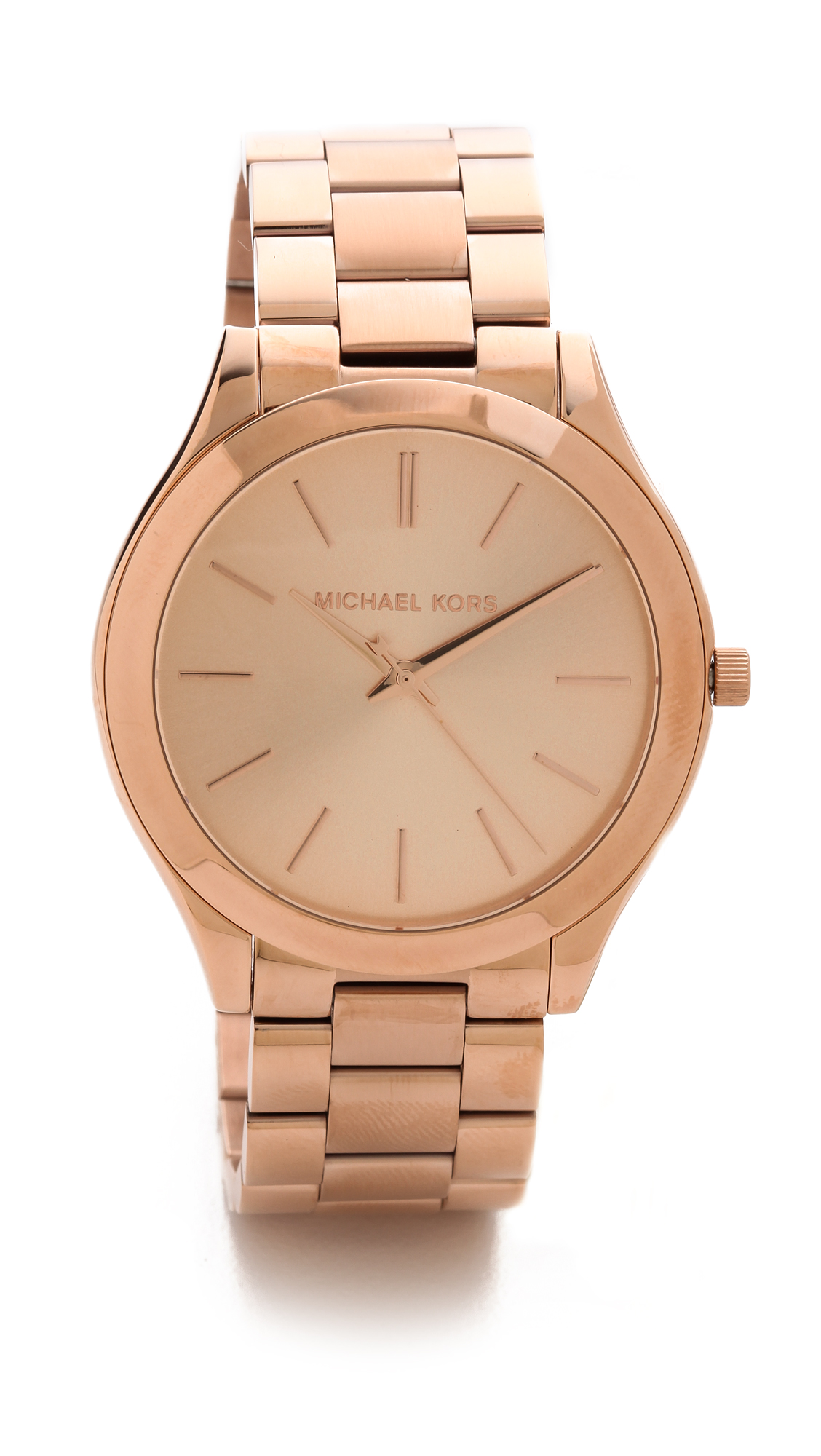 Michael kors slim runway watch rose gold in pink rose gold lyst for Watches gold