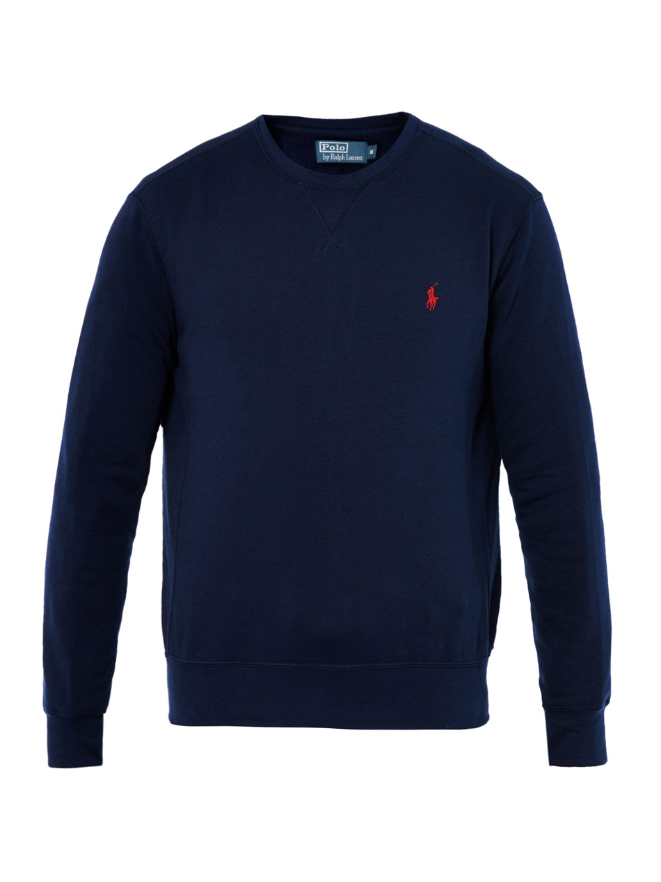 lyst polo ralph lauren crewneck sweatshirt in blue for men. Black Bedroom Furniture Sets. Home Design Ideas