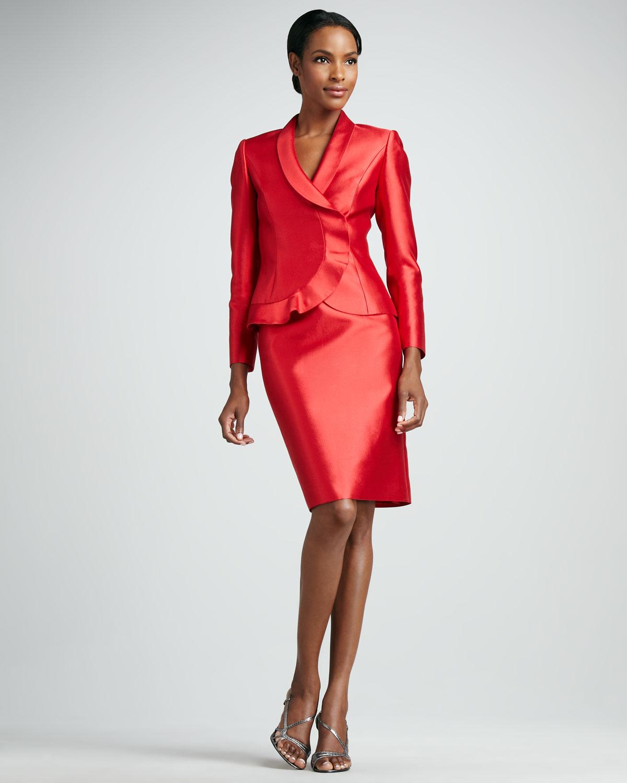 Tahari Ruffled Organza Skirt Suit in Red   Lyst