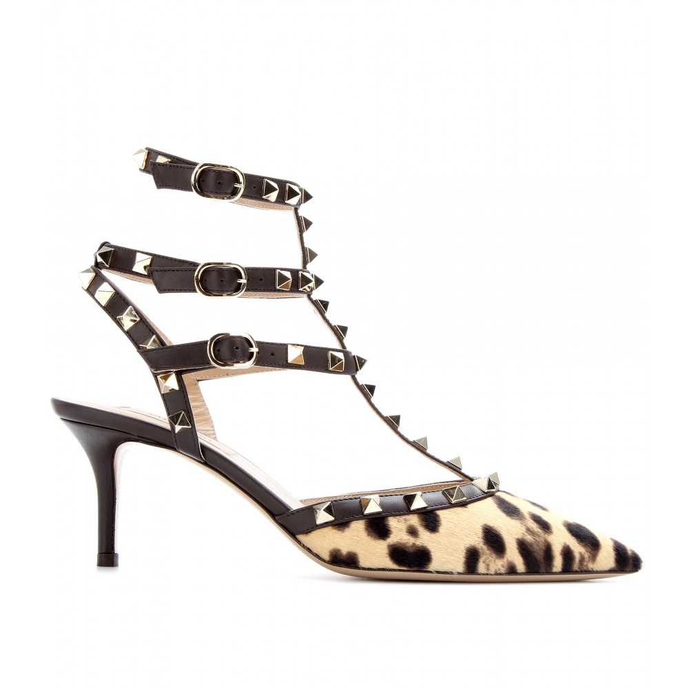 7a56517592e Lyst - Valentino Rockstud Calf Hair and Leather Kitten Heel Pumps in ...