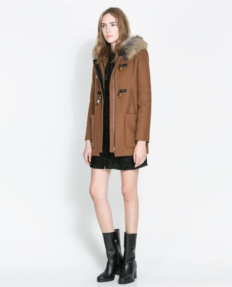 zara duffle coat with fur hood in brown caramel lyst. Black Bedroom Furniture Sets. Home Design Ideas