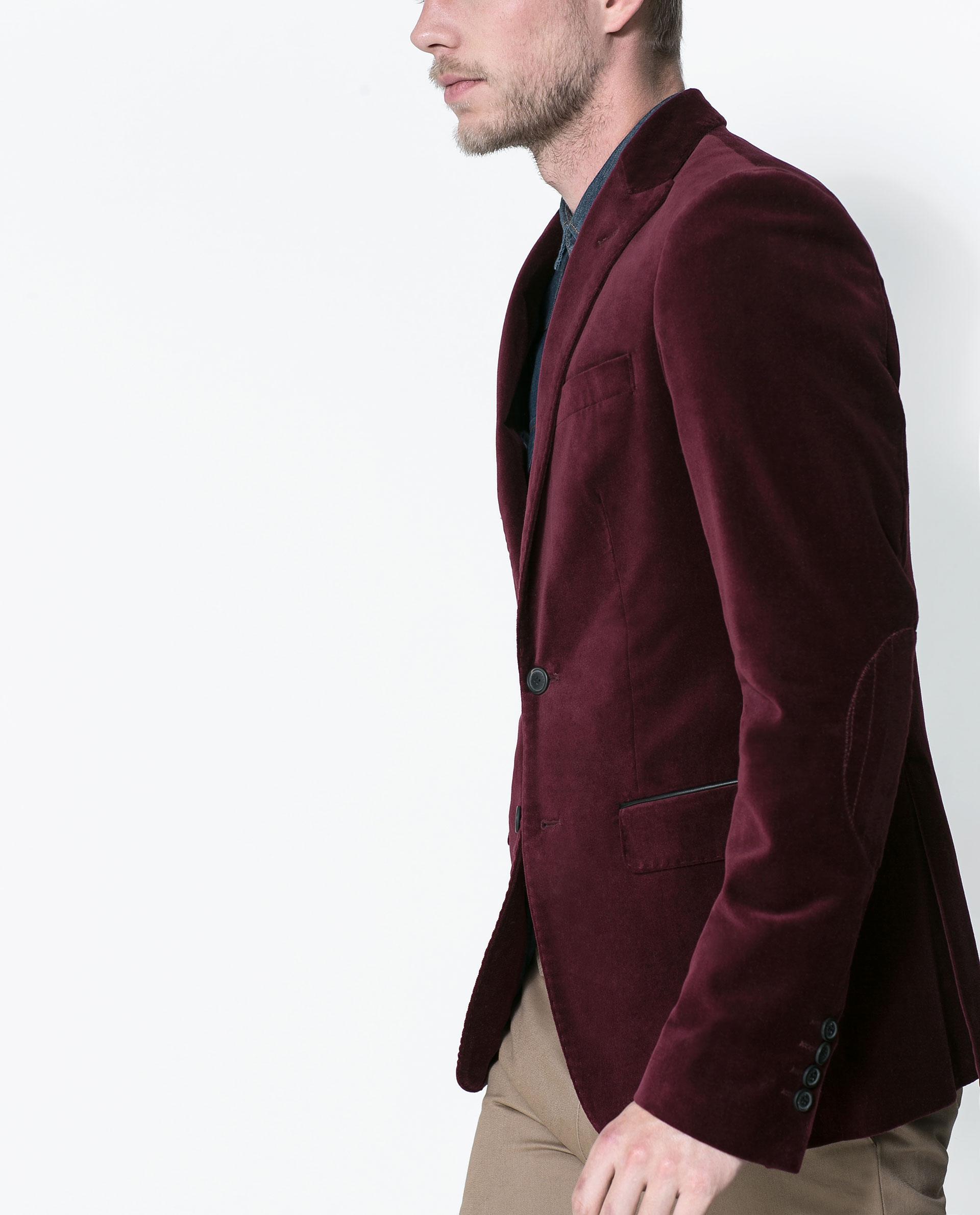 zara velvet blazer in purple for men lyst. Black Bedroom Furniture Sets. Home Design Ideas