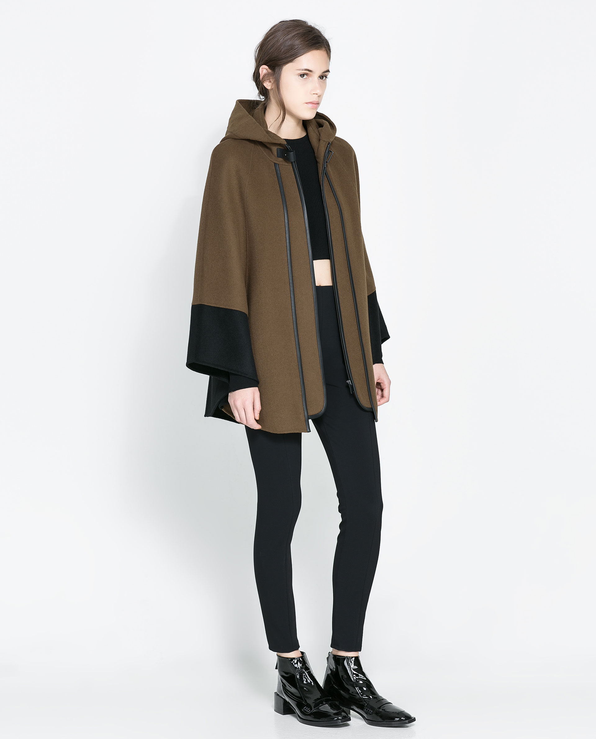Zara Combination Cape In Green | Lyst