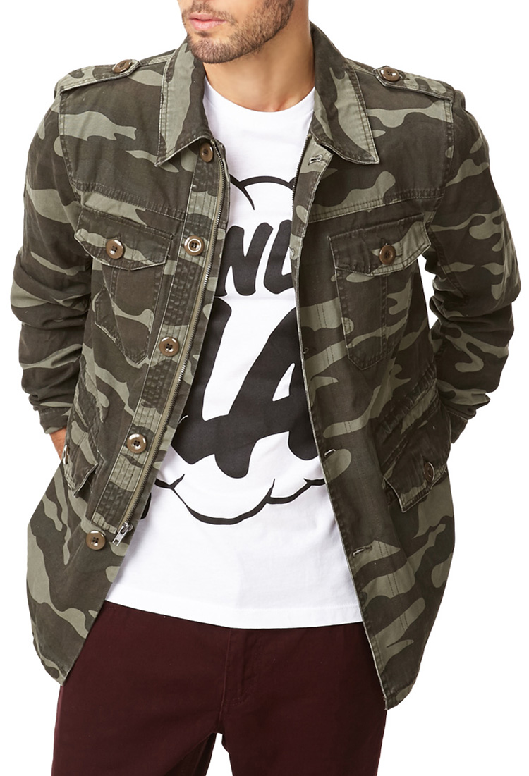 Forever 21 Camo Print Utility Jacket In Green For Men Lyst