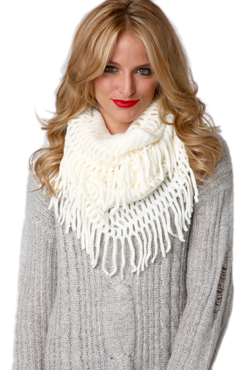 fringe infinity scarf in ivory in white ivory lyst