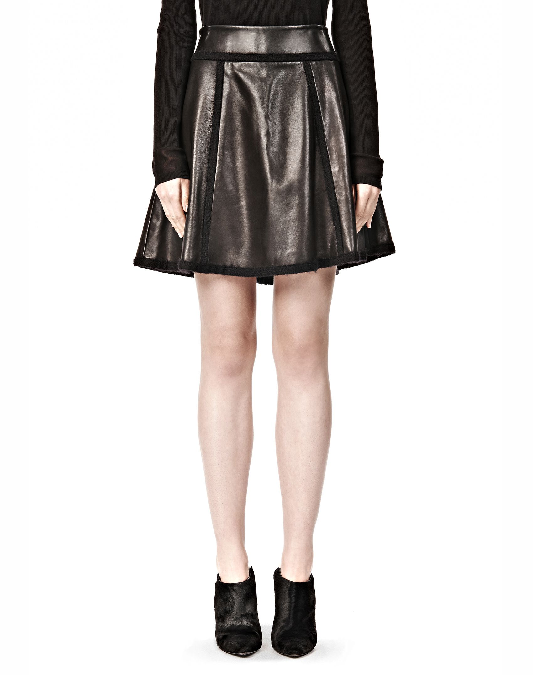 wang flared leather skirt with mohair seaming in