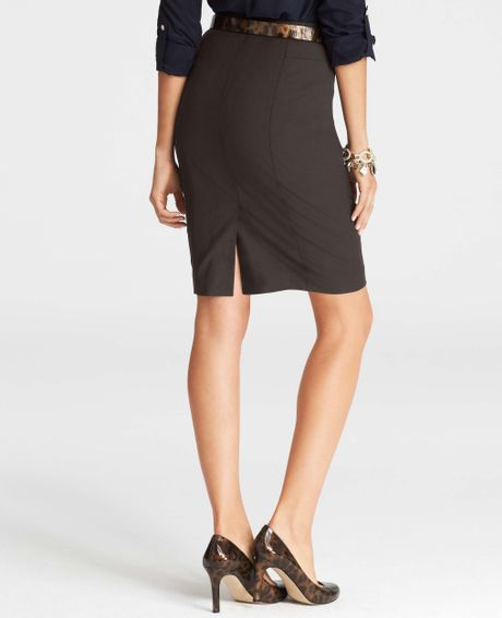 allseason stretch seamed pencil skirt in brown