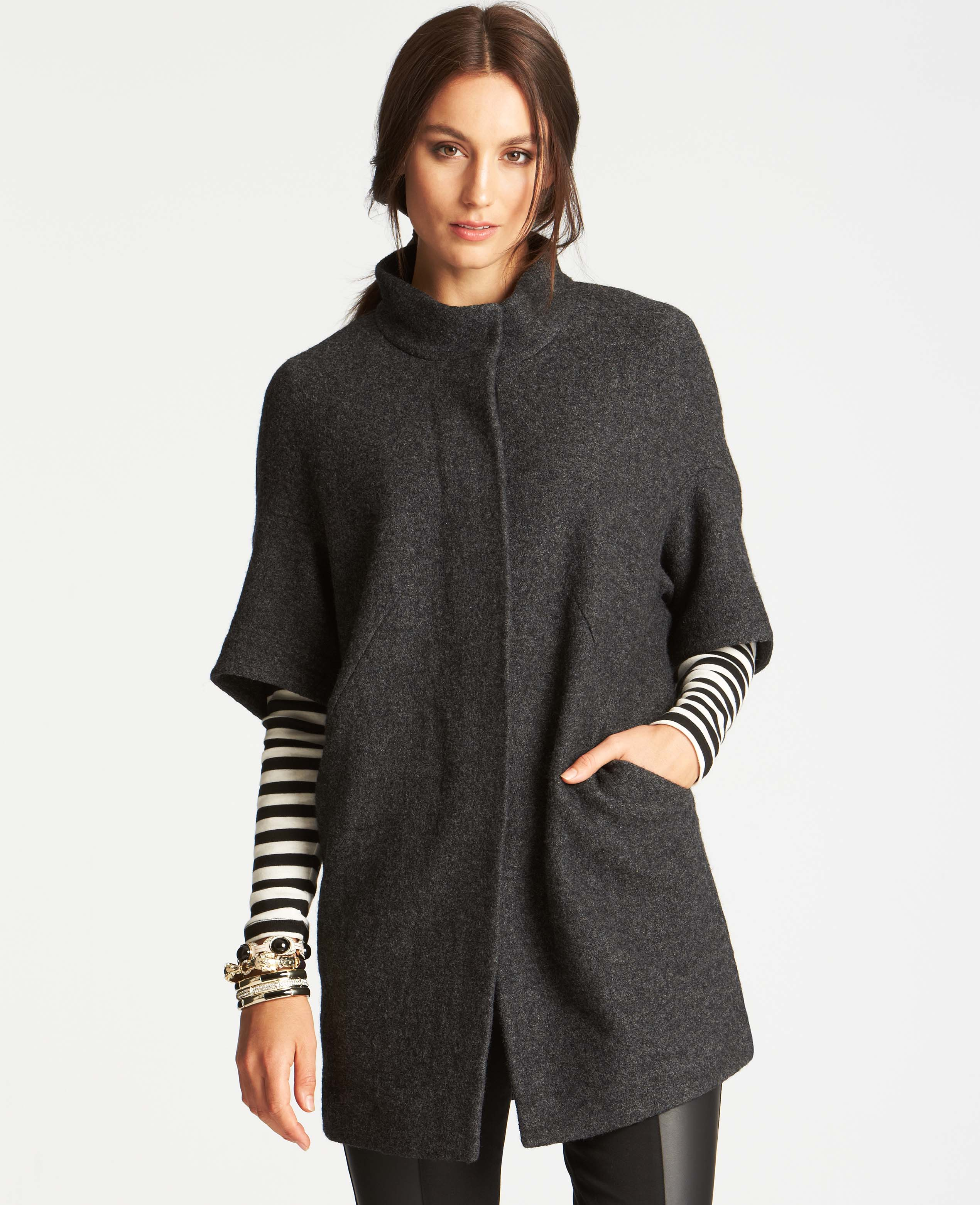 Ann taylor Boiled Wool Short Sleeve Coat in Gray | Lyst