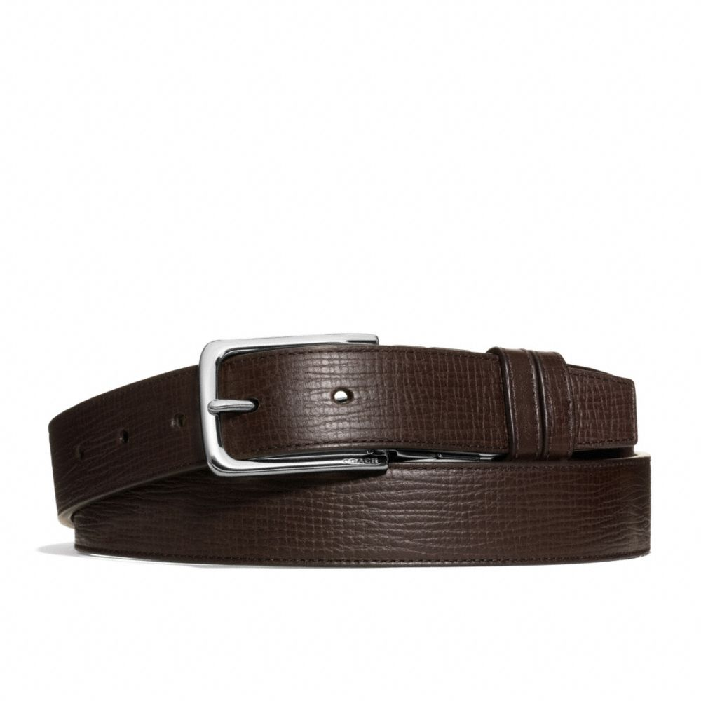 coach dress weston box grain leather belt in brown for