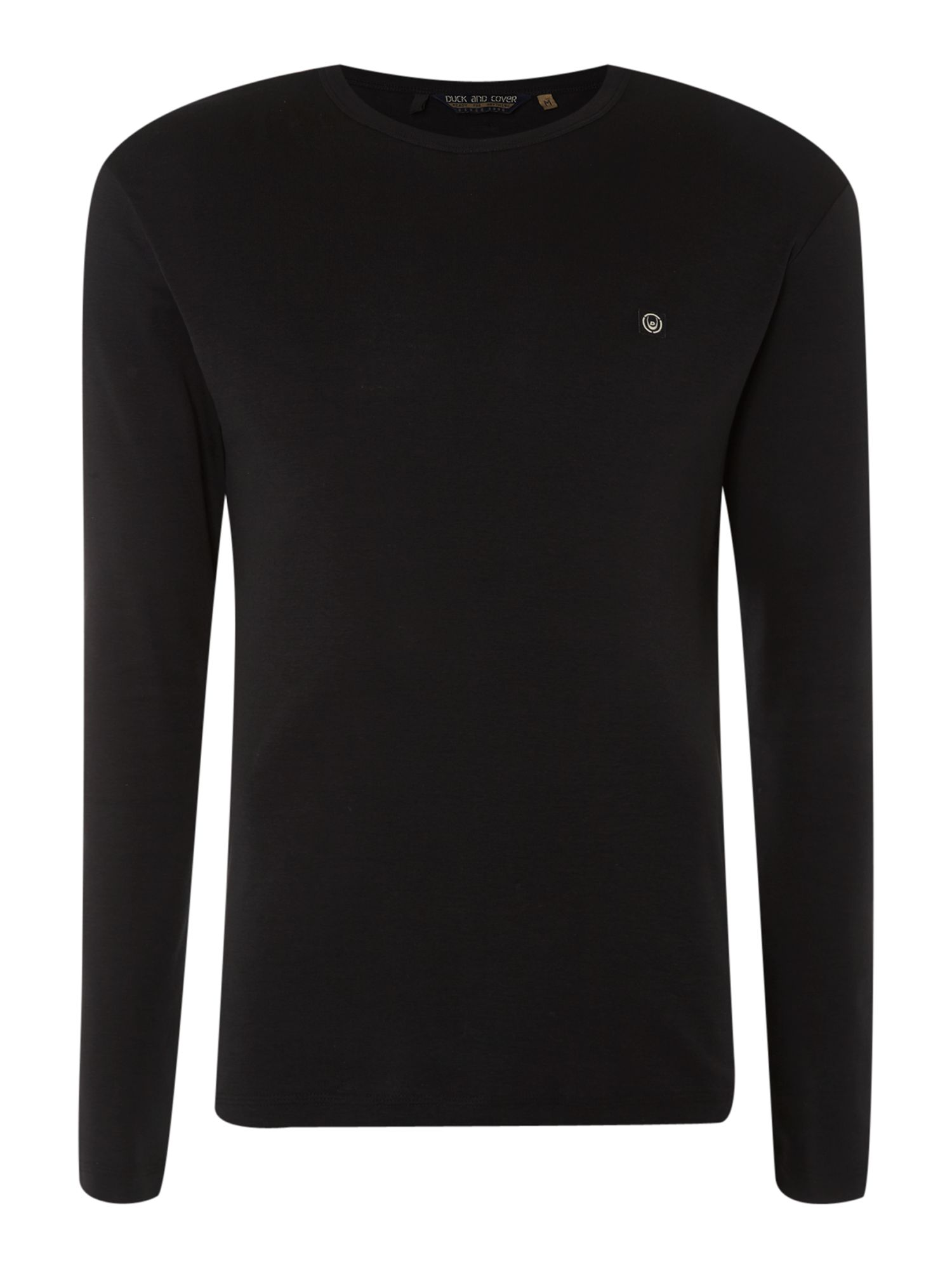 Duck and cover long sleeved ribbed t shirt in black for for Ribbed long sleeve shirt