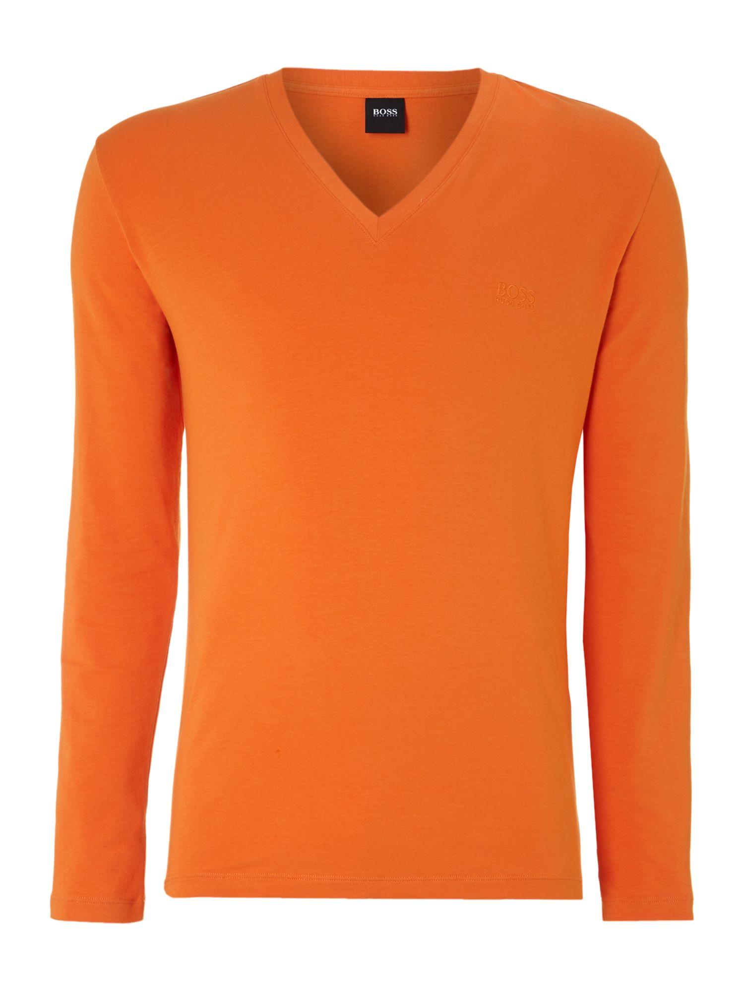 Hugo Boss Long Sleeved V Neck Tshirt In Orange For Men Lyst