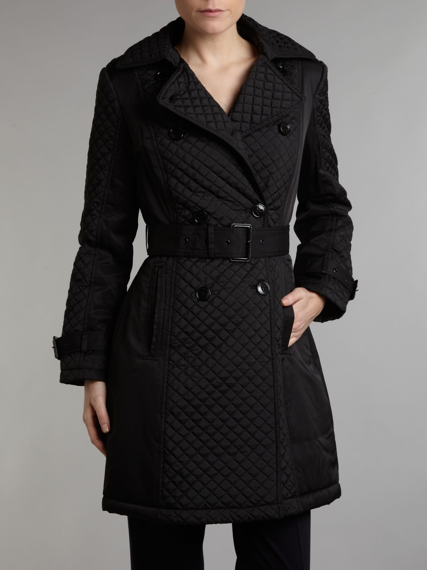 Kenneth Cole Quilted Coat With Belt In Black Lyst