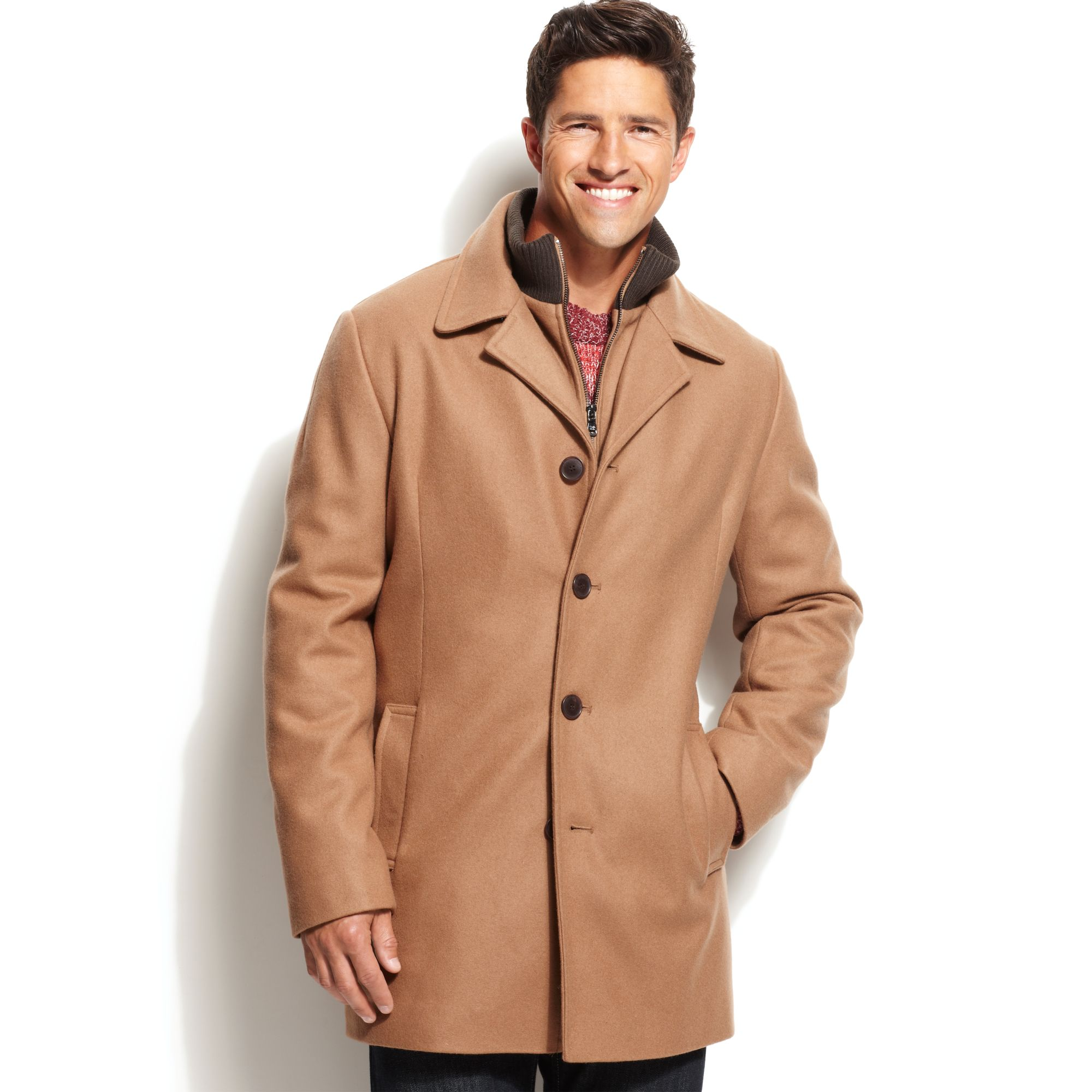 Calvin Klein Coat Bib Wool Blend Walker Coat In Beige For