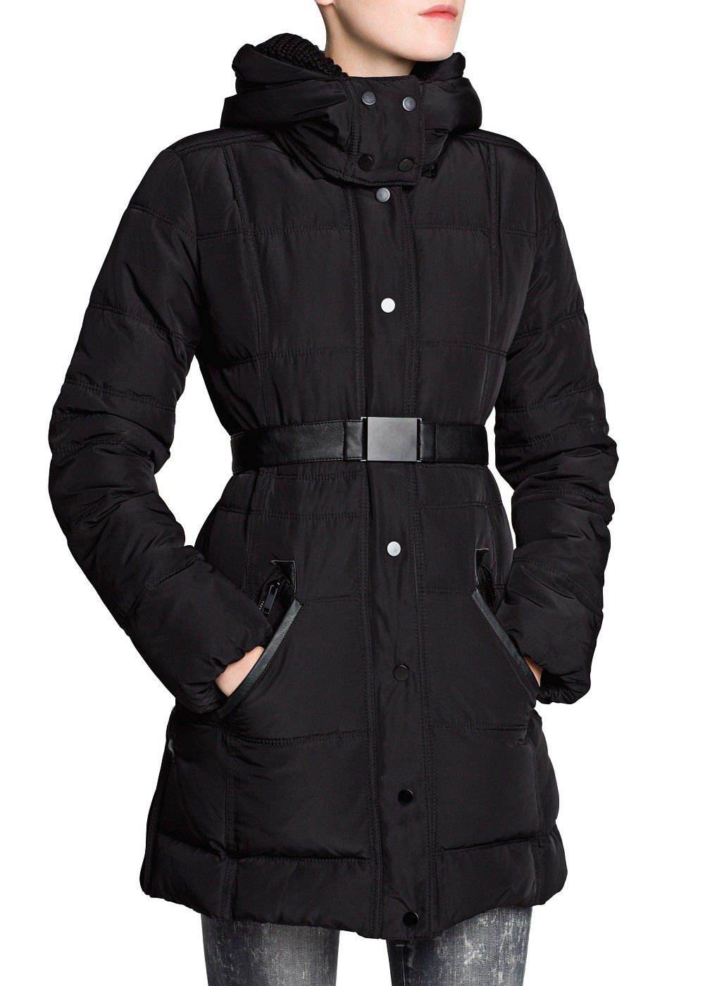Mango Down Feather Long Coat in Black | Lyst