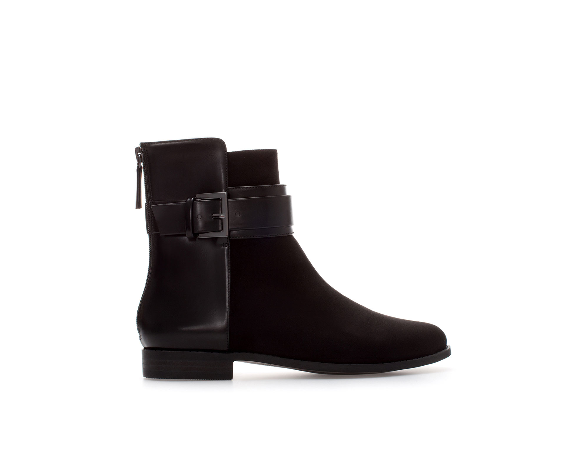 zara flat ankle boot with buckle in black lyst