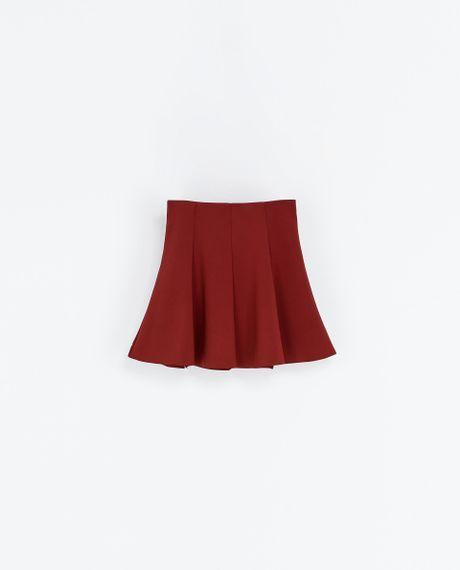 zara pleated skirt in maroon lyst