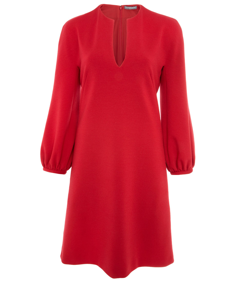 Lyst Alexander Mcqueen Red Long Sleeve Wool Dress In Red