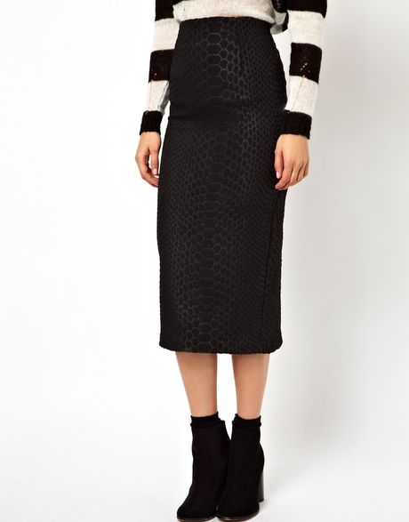 Puma Asos High Waisted Pencil Skirt In Animal Jacquard in Black