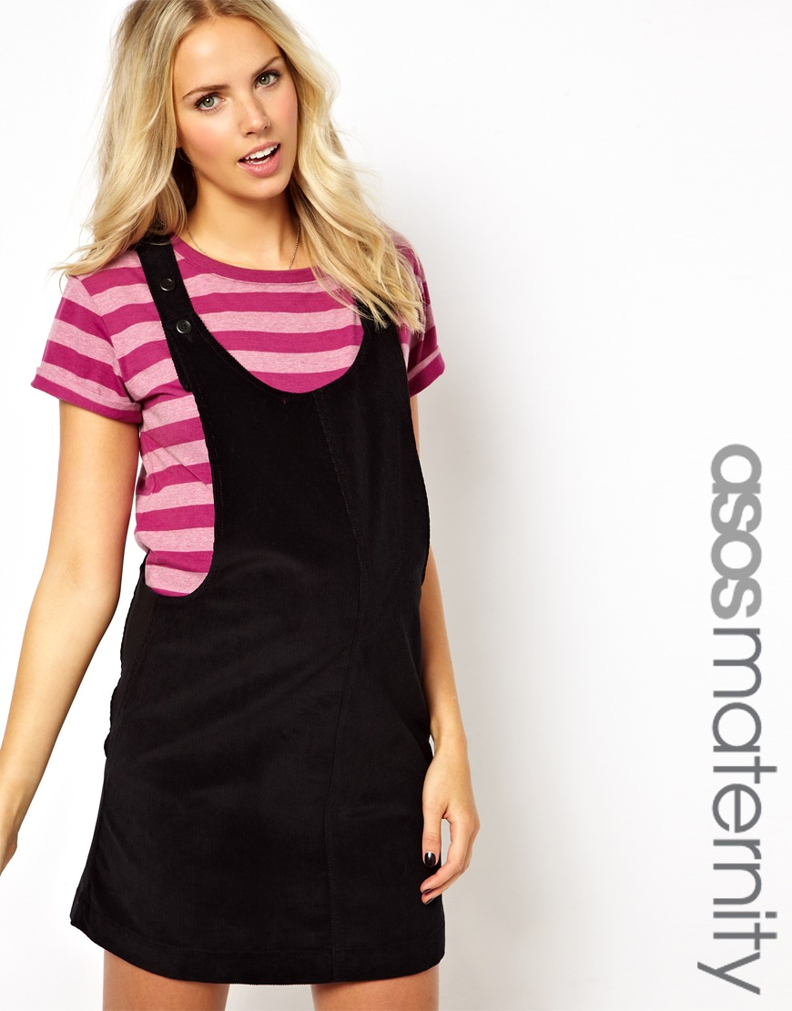 Lyst asos pinafore dress in cord in black gallery ombrellifo Choice Image