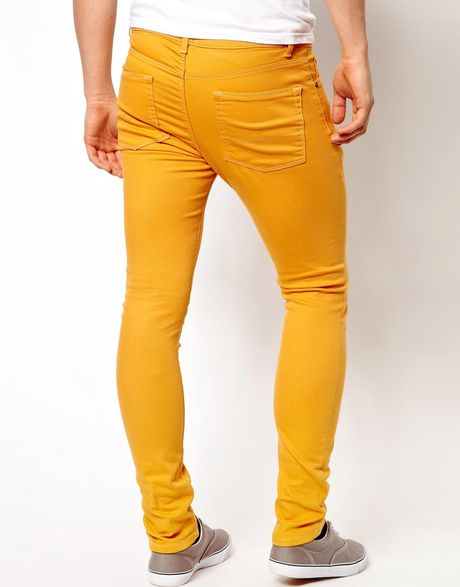 Mens Skinny Moto Stretch Jeans with Yellow Wash Keeping this secret is one of the ways we keep bringing you top designers and brands at great prices. $ Comparable value $ Save up to 48%.