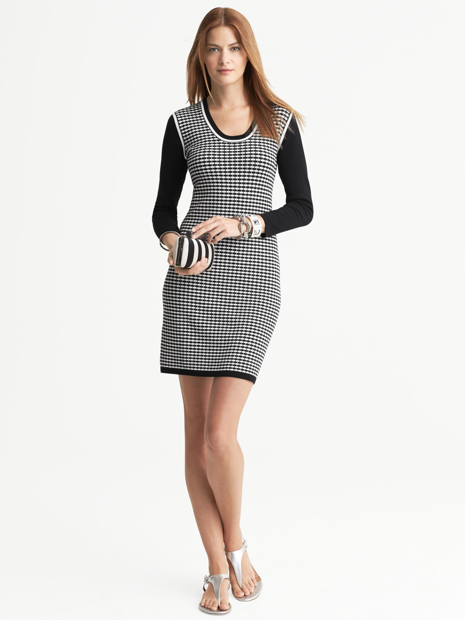 Banana Republic Textured Sweater Dress In Black Black