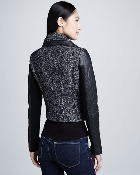More Details Eileen Fisher Tweed Fray-Edge Long Jacket Details EXCLUSIVELY AT NEIMAN MARCUS Eileen Fisher tweed knit jacket with frayed edges. Shawl collar; open front. Long sleeves. Long, relaxed fit. Knee length. Organic cotton/nylon/spandex. Machine wash. Imported.
