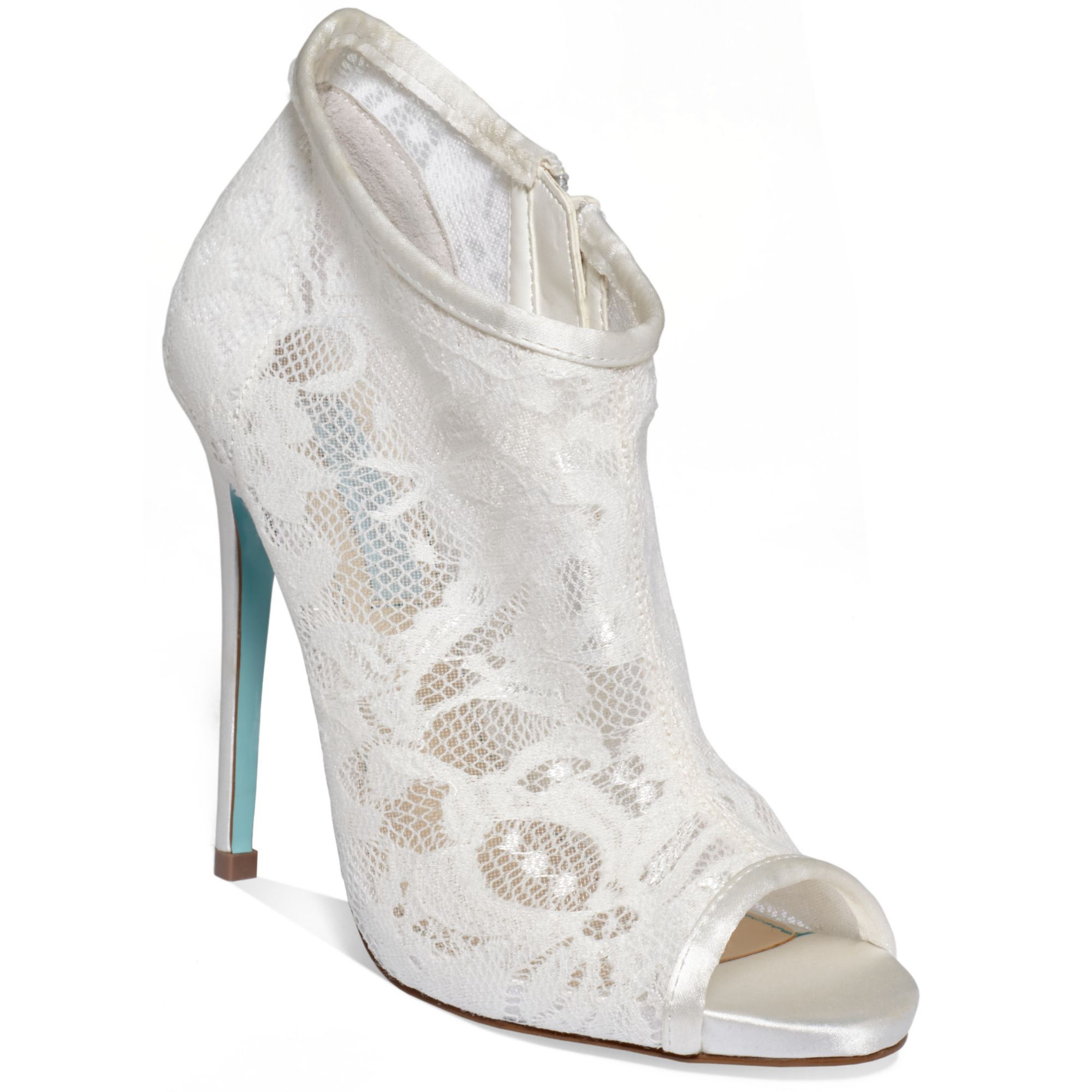 betsey johnson rsvp booties in white ivory satin lyst