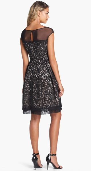 Eliza J Illusion Yoke Lace Fit Flare Dress In Black Lyst