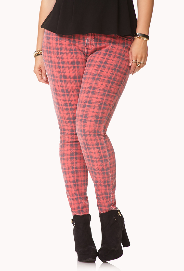 2fb6f2b8d92f Forever 21 Cool Girl Plaid Skinny Jeans in Red - Lyst