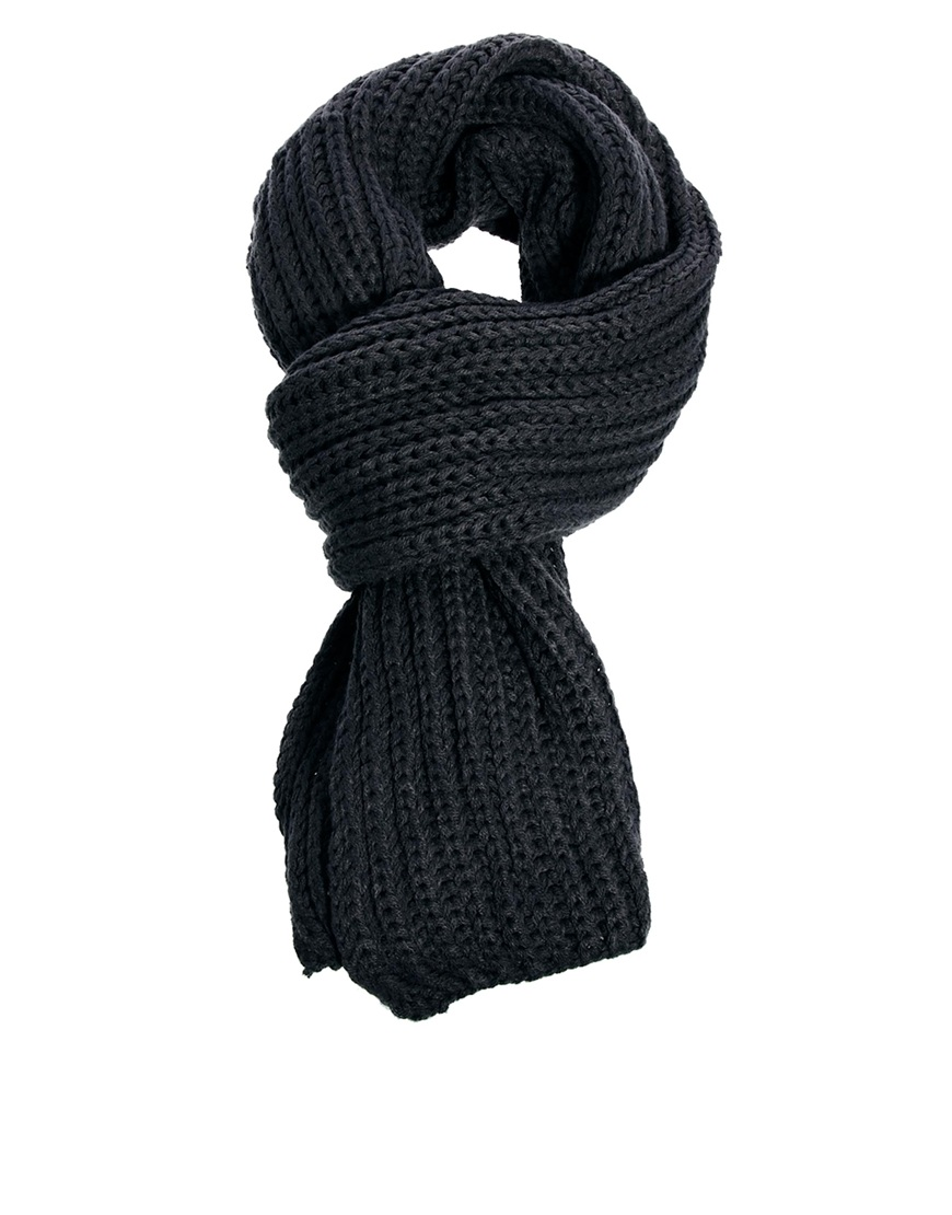 French Knitting Scarf : French connection chunky knit scarf in gray for men lyst
