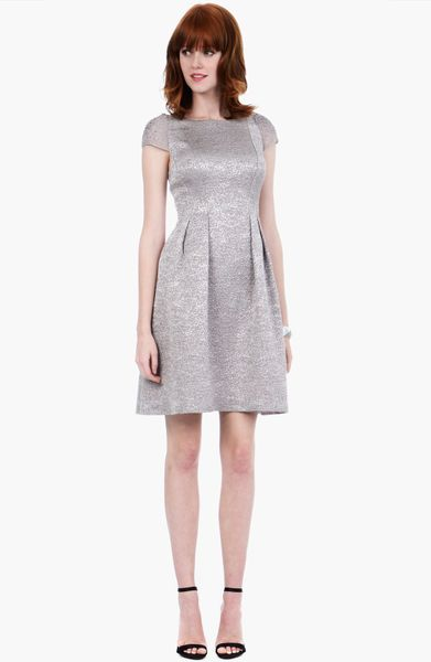 Kay Unger Embellished Metallic Fit Flare Sweater Dress in ...