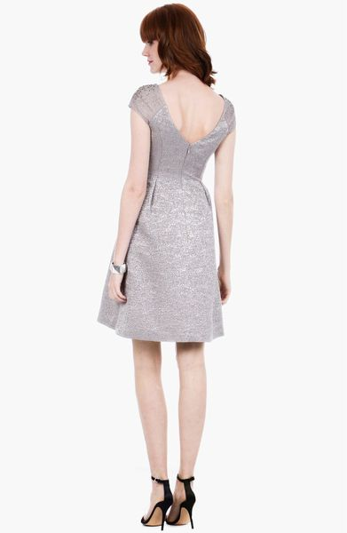 Kay Unger Embellished Metallic Fit Flare Sweater Dress In