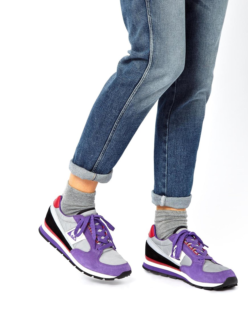 asos le coq sportif eclat running sneaker in purple lyst. Black Bedroom Furniture Sets. Home Design Ideas
