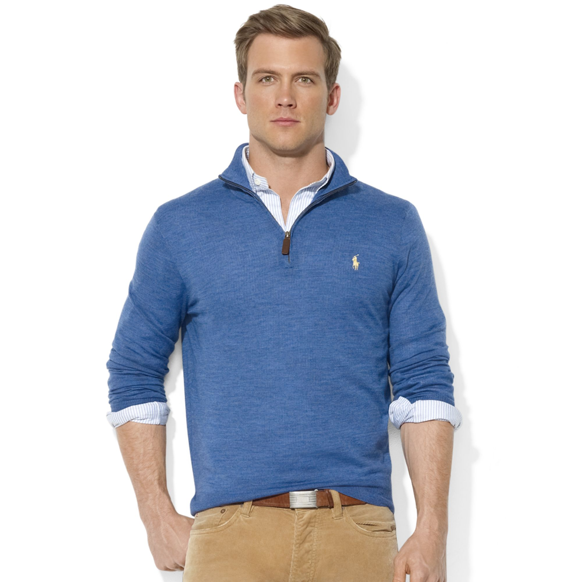 lyst ralph lauren polo ralph lauren sweater halfzip mock neck merino wool pullover in blue for men. Black Bedroom Furniture Sets. Home Design Ideas