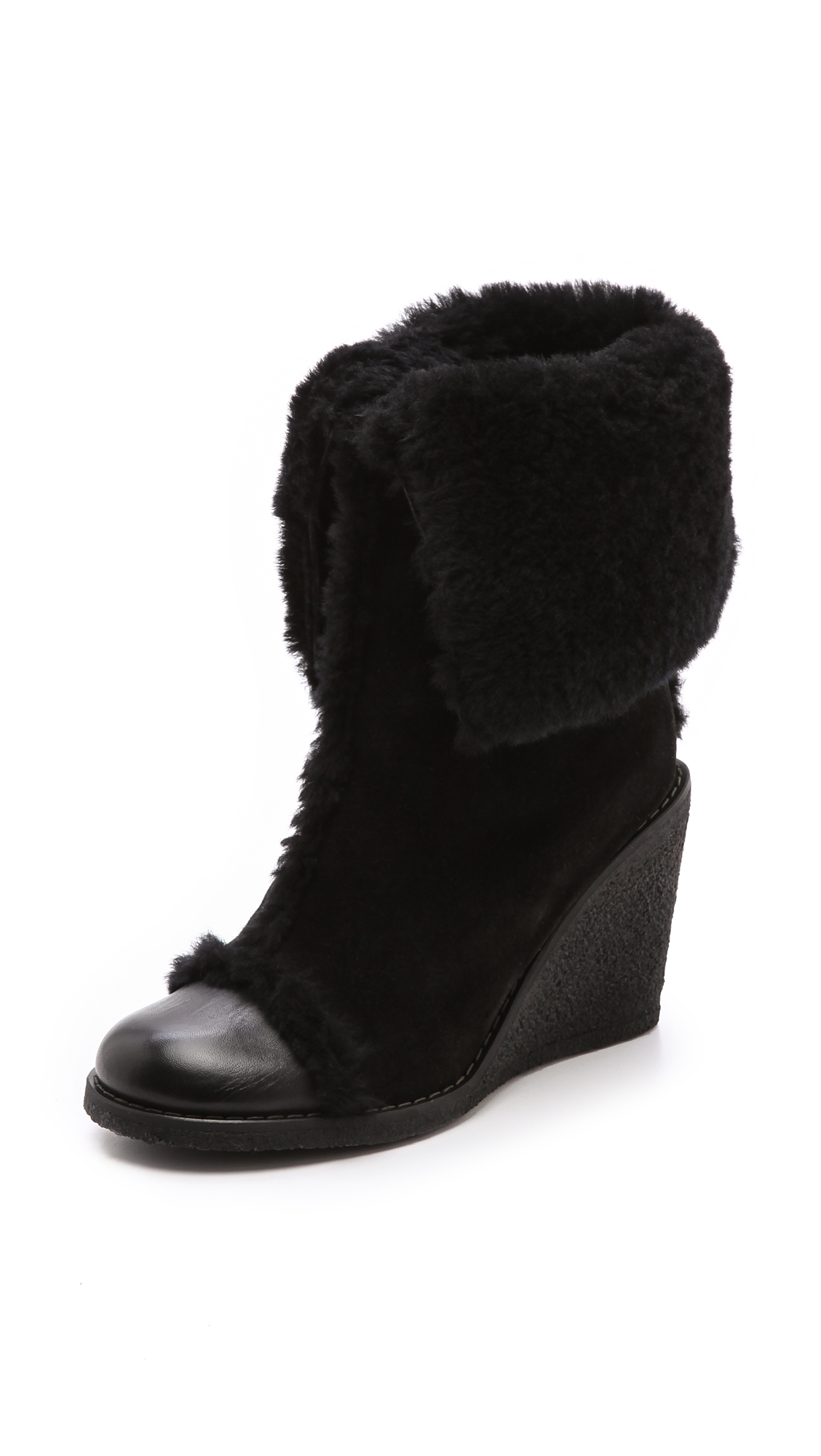 see by chlo 233 fur lined suede wedge boots in black lyst