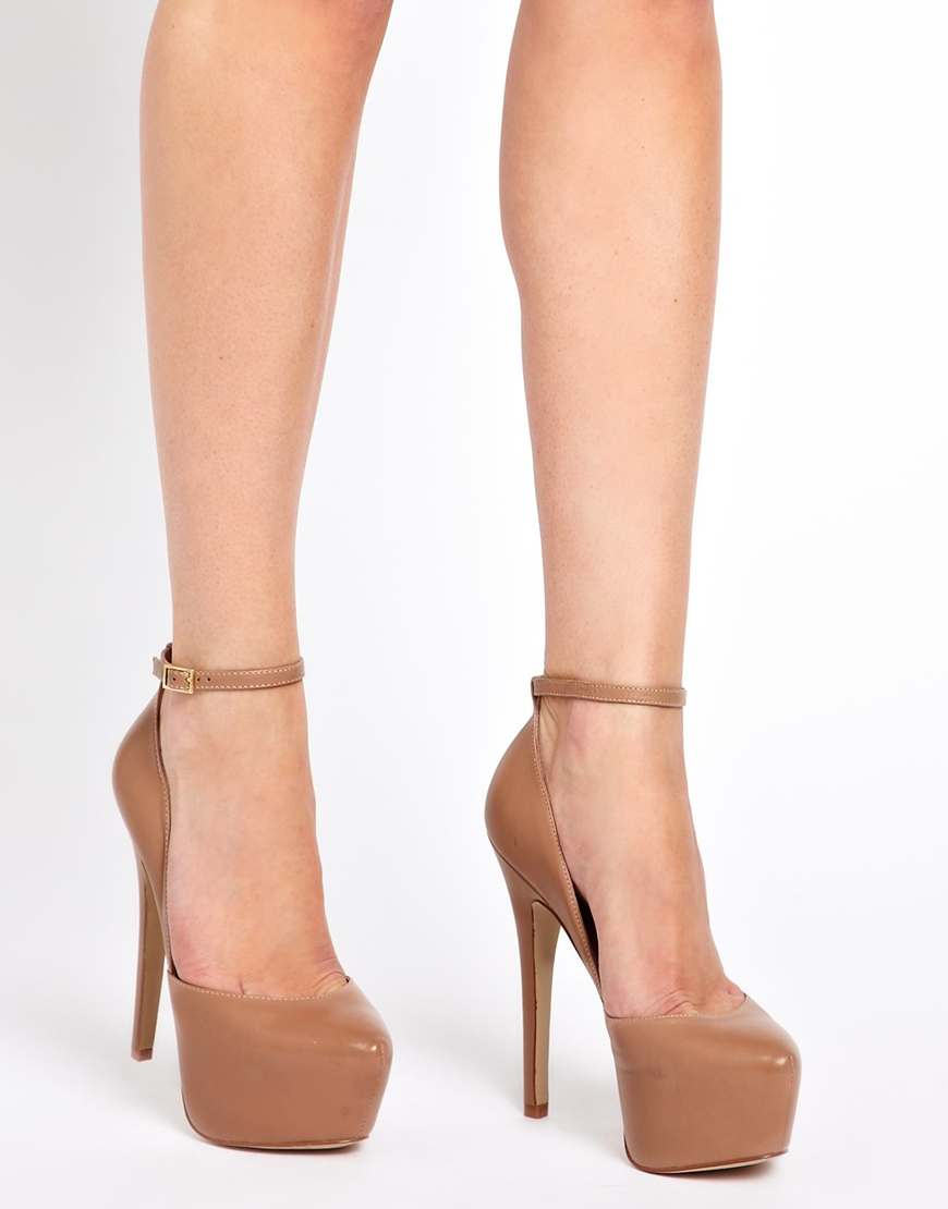 748d158ef80 Lyst - Steve Madden Deeny Leather Ankle Strap Heeled Shoes in Natural