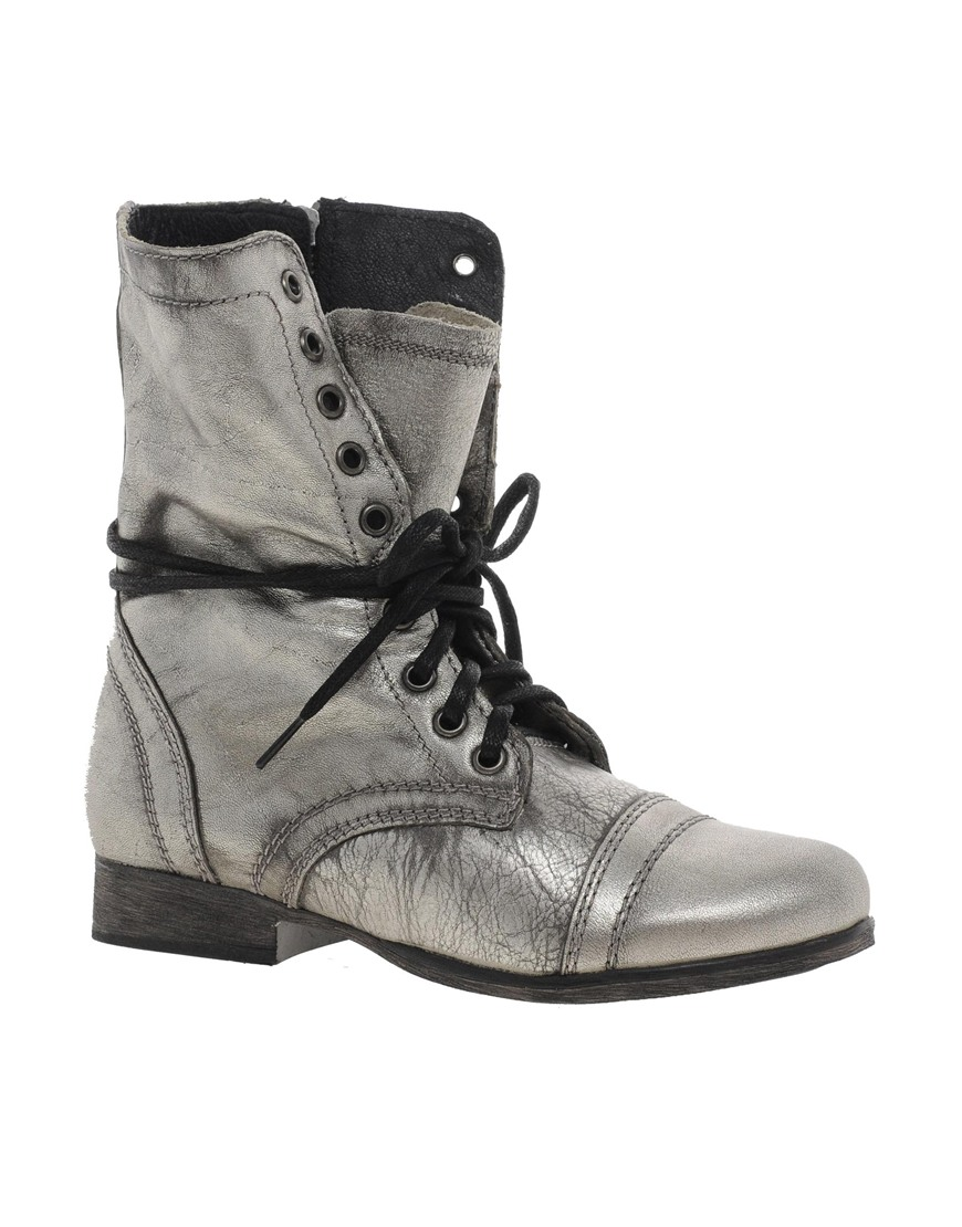Steve Madden Troopa Lace Up Ankle Boots In Silver Pewter