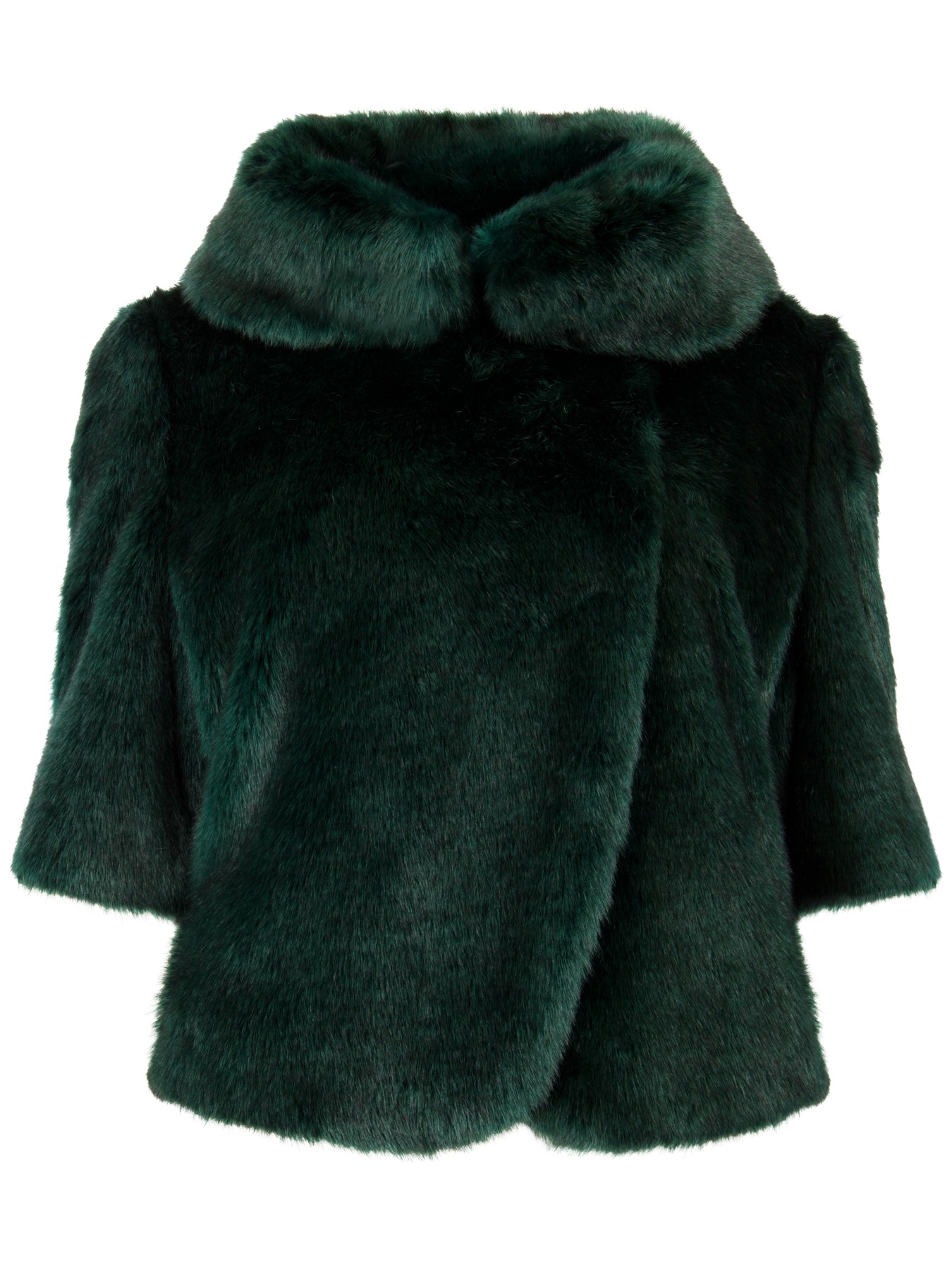 ted baker bionca faux fur jacket in green  dark green