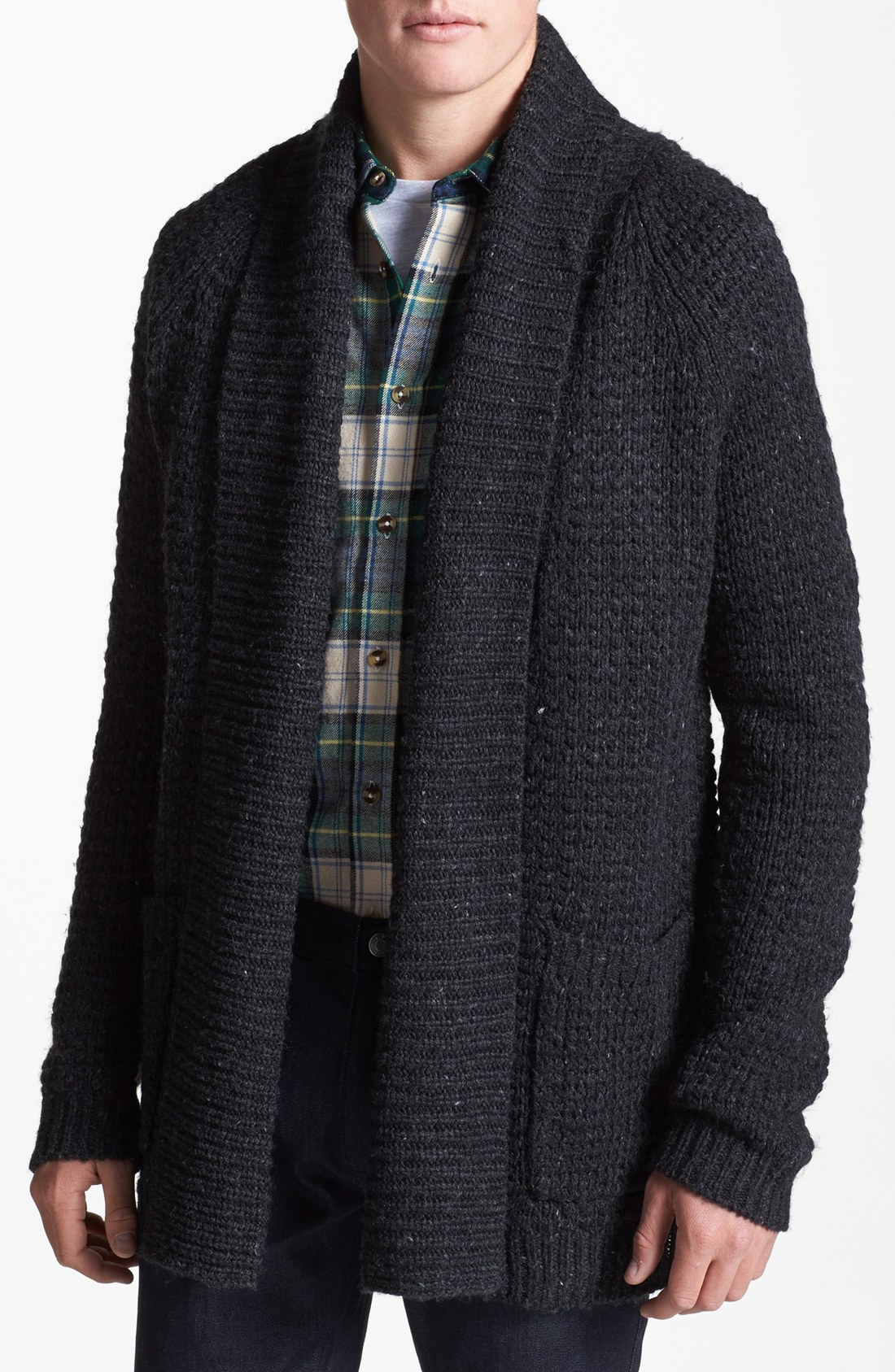 Topman Open Drape Shawl Cardigan in Black for Men | Lyst