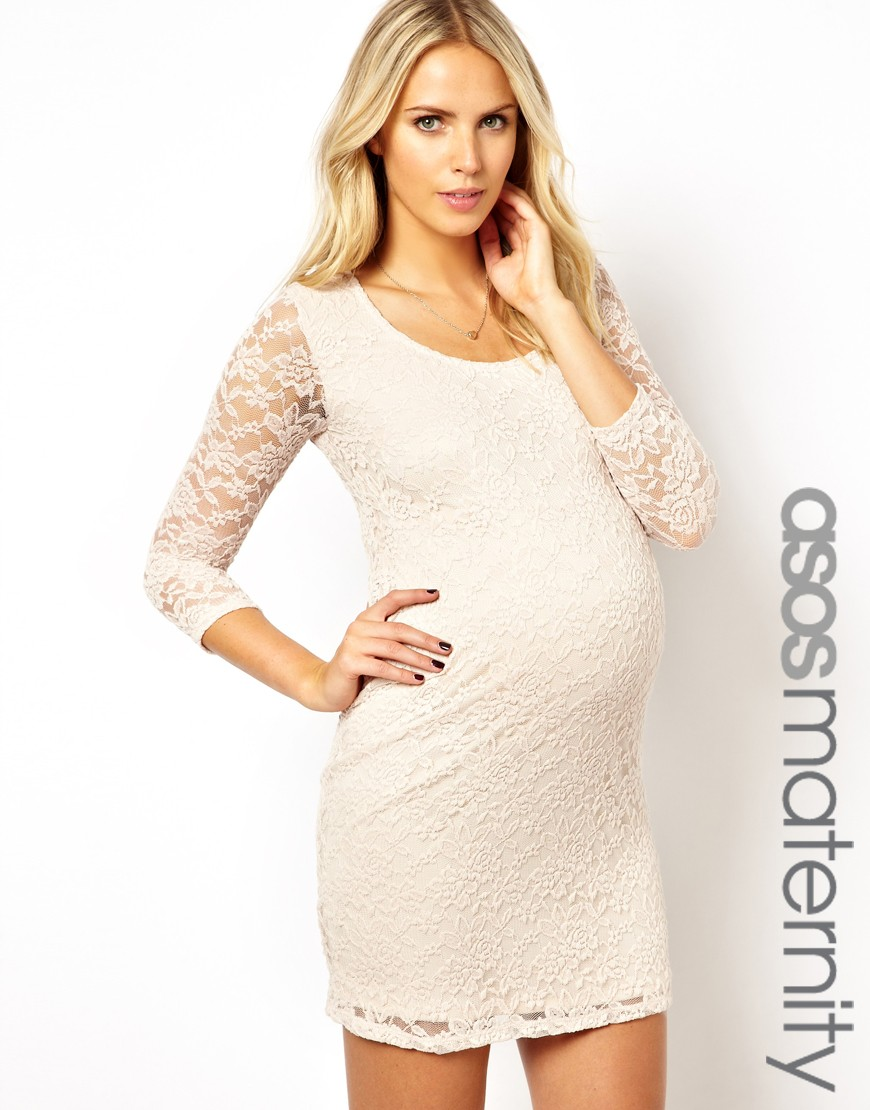 Asos maternity mini bodyconscious dress in lace with scoop neck in gallery ombrellifo Choice Image