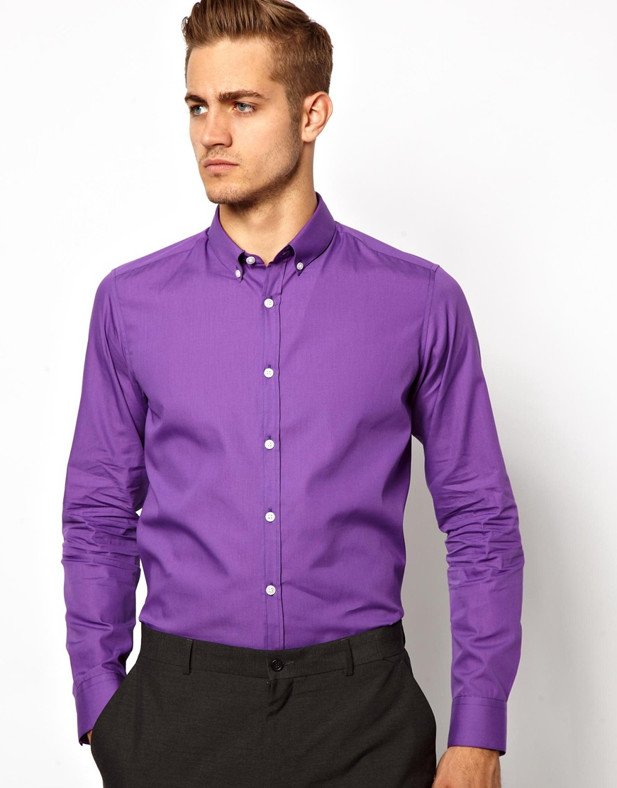 Asos Smart Shirt With Button Down Collar In Purple For Men