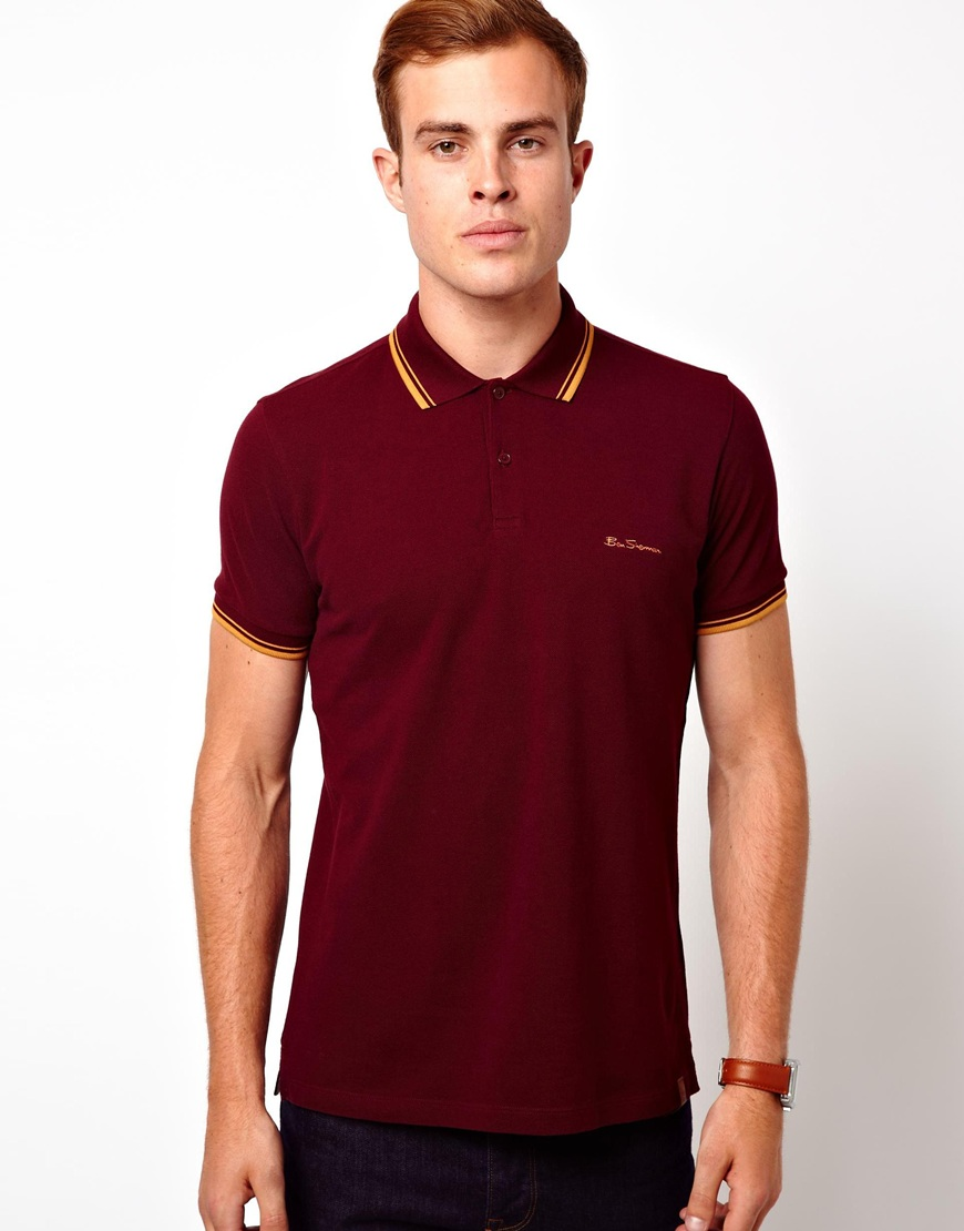 ben sherman polo with tipped collar cuff in red for men lyst. Black Bedroom Furniture Sets. Home Design Ideas