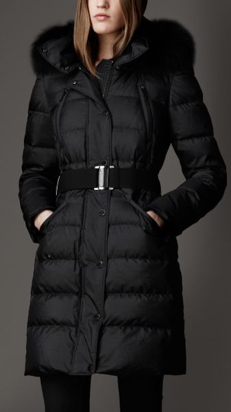 burberry fur trim puffer coat in black lyst. Black Bedroom Furniture Sets. Home Design Ideas